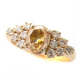 Natural Fancy Yellow-brown Diamond, Diamond, 14k Yellow