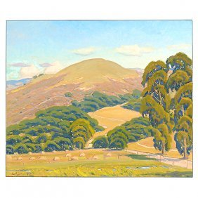 "Arthur Hill Gilbert ""california Hills"" Oil On Canvas."