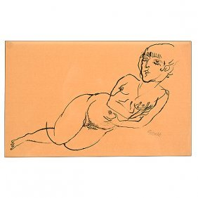 "George Grosz ""reclining Nude"" Ink."