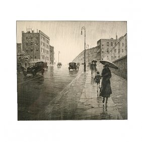"""Martin Lewis """"rainy Day, Queens"""" Etching/dry Point."""