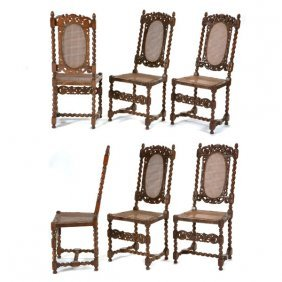 Set Of Continental Baroque Style Walnut Chairs