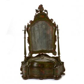 Venetian Rococo Style Floral Decorated Dressing Mirror