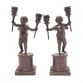 Pair Of Louis Xvi Style Patinated Bronze Figural Two