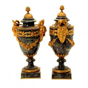 Pair Of Louis Xvi Style Marble Urns