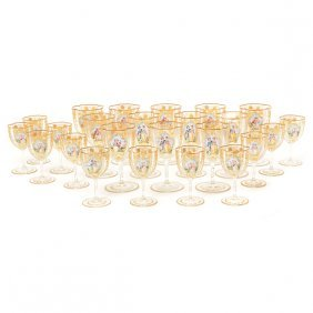 Suite Of Bohemian Gilt Decorated Glass Stemware With