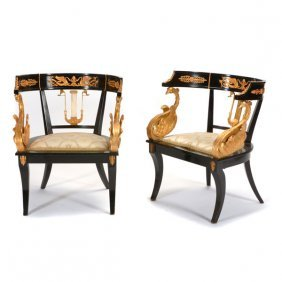 Pair Of French Empire Style Ebonized And Bronze Mount
