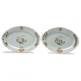 Pair Of Chinese Export Enameled Armorial Trays, 18th