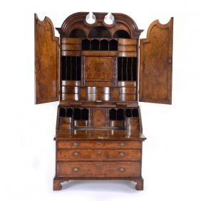 Massive William & Mary Style Walnut Paneled Secretary