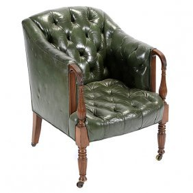 Regency Leather Tufted And Upholstered Armchair.