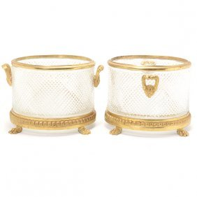 Pair Of Empire Style Gilt Bronze Mounted Cut Glass