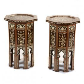 Pair Of Levantine Shell And Hardwood Marquetry