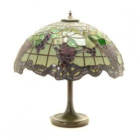 Arts & Crafts Bunches Of Grape Leaded Glass Lamp
