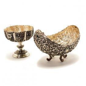 Persian 900 Silver Floral Repoussé Center Bowl And