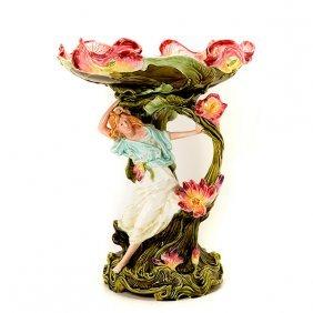 Art Nouveau Majolica Figural Centerpiece