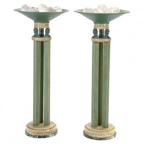 Pair Of Art Deco Egyptian Revival Style Painted Metal