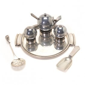 Georg Jensen Pyramid Pattern Three Piece Condiment Set