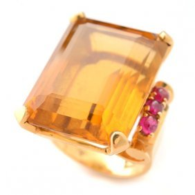 Retro Citrine, Ruby, 14k Yellow Gold Ring.