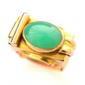 Retro Chrysoprase, 14k Yellow & Rose Gold Ring.