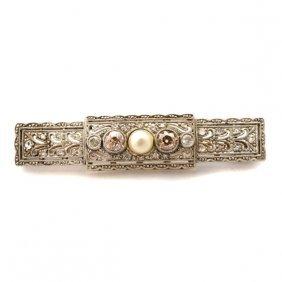 Edwardian Cultured Pearl, Diamond, Platinum-topped, 14k