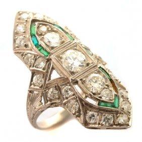 Art Deco Diamond, Glass, Platinum Ring.