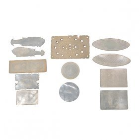 12 Chinese Export Mother-of-pearl Game Counters, 19th