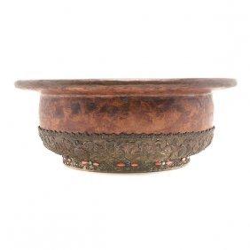 A Tibetan Metal-mounted Burlwood Bowl