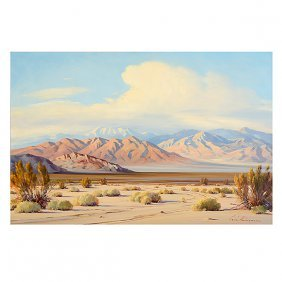 Oil On Board - Desert Landscape, Signed Lower Right