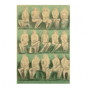 """Henry Moore """"seated Figures"""" Framed Lithograph."""
