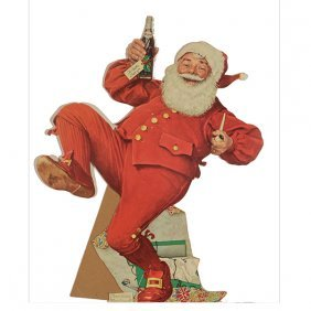"Norman Rockwell ""pepsi Santa"" Standing Cardboard Cut"