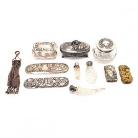 Collection Of Sterling, Silver, And Metal Dresser Items