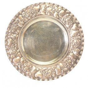 Continental Silver Repousse Tray With Fruit