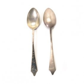 Set Of Six Silver Niello Silver Demitasse Spoons