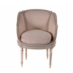 Louis Xvi Style Armchair With Striped Cream Upholstery