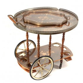 Contemporary Italian Floral Marquetry Drinks Cart And