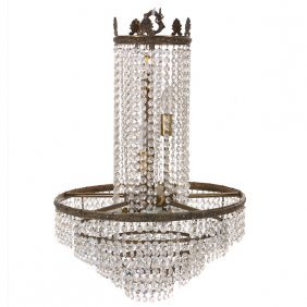 Empire Style Chandelier Hung With Lustres
