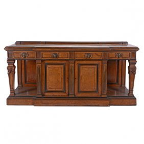 Classical Revival Ebonized Burl Walnut Sideboard