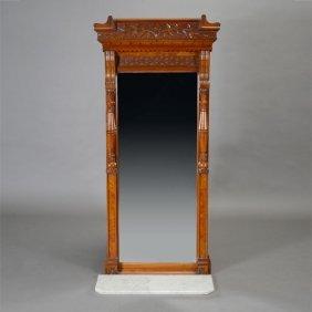 Victorian Aesthetic Movement Burl Walnut Pier Mirror