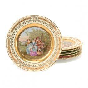 Suite Of Six Austrian Royal Vienna Style Porcelain