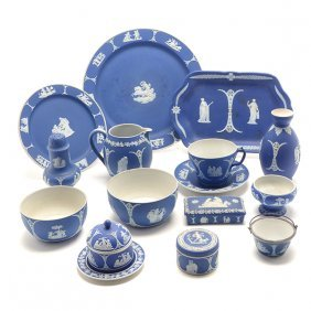 Collection Of 19th Century Dark Blue Wedgwood