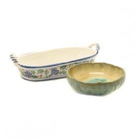 Fulper Petal Form Pottery Bowl And An Italian Majolica