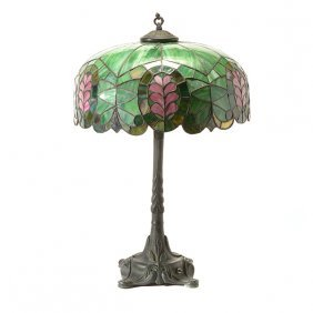 Arts And Crafts Table Lamp With Leaded Glass Shade