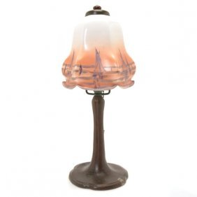 Miniature Handel Table Lamp With A Painted Glass Ship