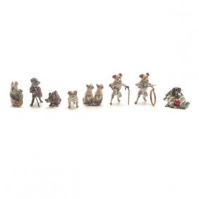 Eight Vienna Miniature Cold Painted Bronze Figural