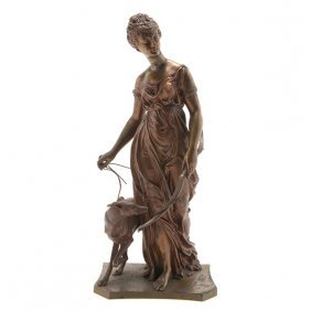 Alfred-louis Habert, Gilt Bronze Figure Of Diana