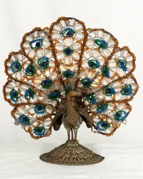 86 Antique Bronze And Czech Glass Beaded Peacock Lamp