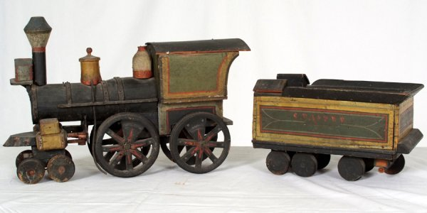 Old Toy Trains : Antique wood toy train engine and coal car lot