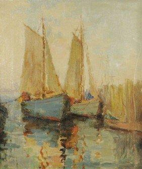 Artist Unknown (20th Century) Harbor Scene, Oil On C