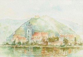 H. Leszczuk (20th Century) Coastal Scene, Watercolo