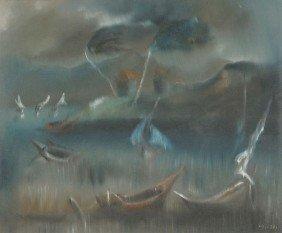 Charles Obas (Haitian, 1927-1968) Harbor Scene, Oil
