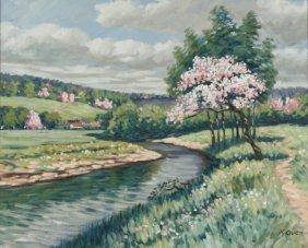 R. Owen (b.1951) A Springtime Landscape In Pink, Oi